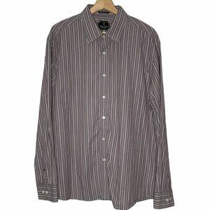 Marc Ecko # 72 Gray Stripe Long Sleeve Button Down